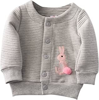 Weixinbuy Baby Girls' Cute Rabbit Pattern Cardigan Clothes Jacket Outwear