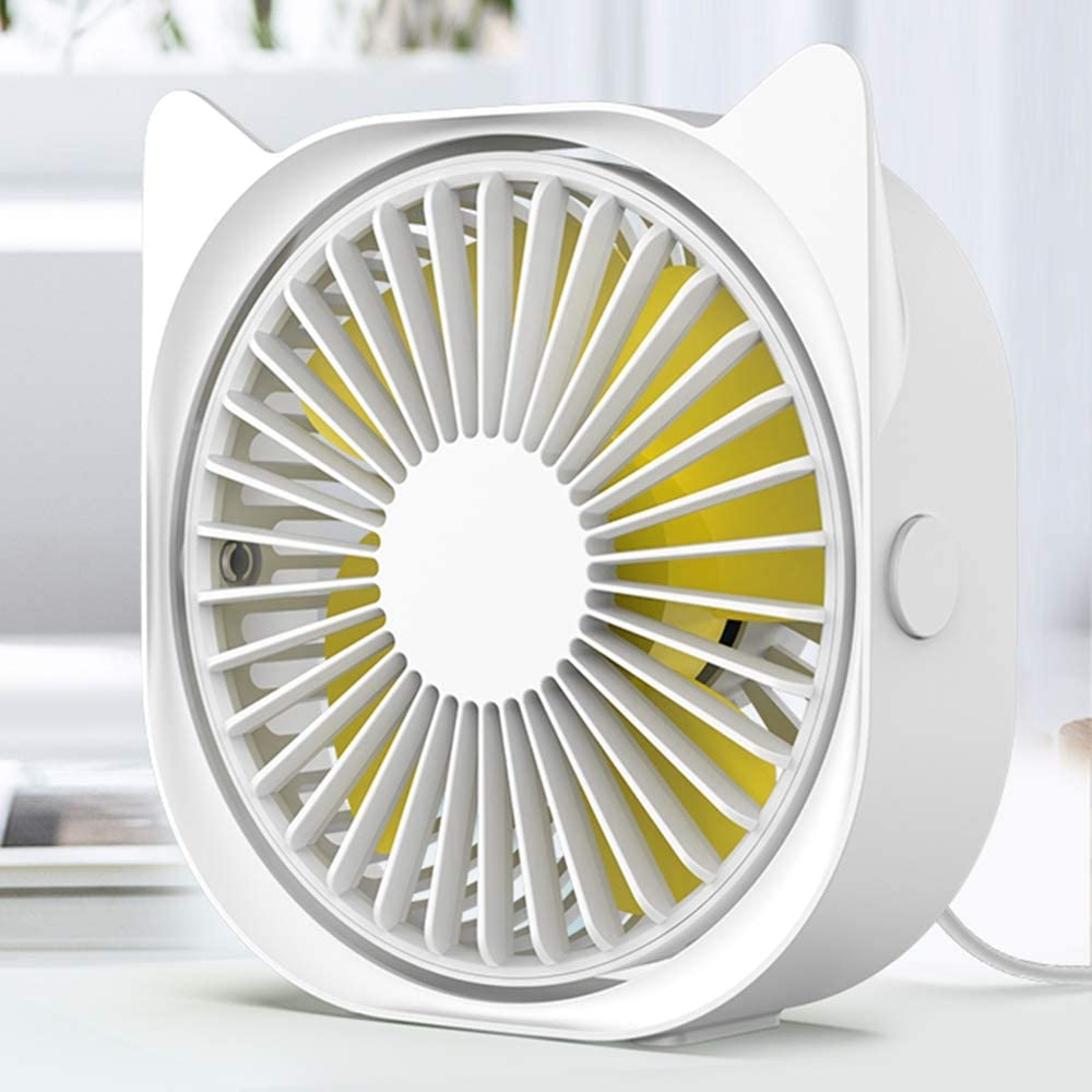 Personal Desk Fan Small Quiet USB Plug in, Mini Cute Table Fans for Bedroom Sleeping, 3 Speeds Adjustable, Rotatable, Anti-slip, Fast Cooling Little Portable Fan for Home Office Work Desktop (White)