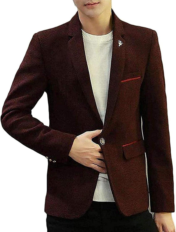 Mens Tweed Sport Coat Notched One Button Slim Fit Blazer Jacket