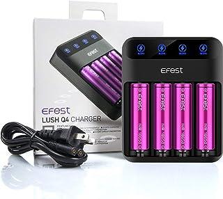 電子タバコ VAPE バッテリー アクセサリー リチウムイオン 電池 Efest LUSH Q4 Intelligent LED Charger (イーフェスト ラッシュ チャージャー) 充電器 + 18650 3500mAh 20A バッテリー4本 セット