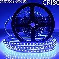 LightingWill DC12V 5M/16.4ft CRI80 SM3528 600LEDs LED Strip Light 48W High Intensity Single Chip LED White PCB Single Row Flexible LED Strips 120LEDs 9.6W Per Meter