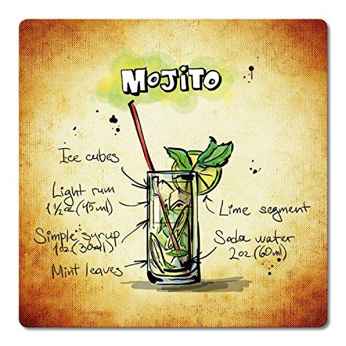 Addies Lot de 6 dessous de verre « Cocktail » dans une boîte cadeau transparente de qualité supérieure et dos en liège - Carrés - Motif Mojito-3
