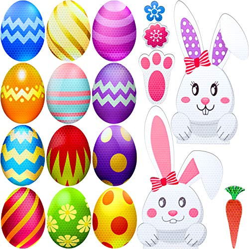 Zonon 20 Pieces Easter Car Magnets Reflective Easter Bunny Eggs Decoration Stickers Magnets Bunny Carrot Flowers Footprint Magnets for Easter Decor Car Mailbox Refrigerator Decorations