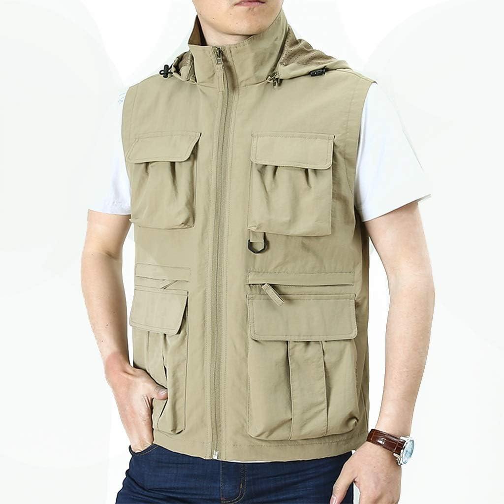 HXR Summer Thin Style Vest Outdoor Men's Vest Casual Spring and Autumn Multi-Pocket Summer Outside wear Vest Vests (Color : Beige, Size : L)