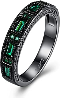Promise Wedding Bands Black Plated Eternity Finger Round Circle Created Zirconia CZ Green Rings