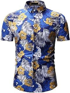 Qiyun Men's Shirts Men Hawaii Beach Shirt Summer Flower Printing Lapel Short Sleeve Male Casual Shirt