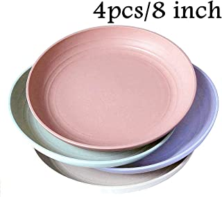 """Wheat Straw Plastic Plates Dinnerware Set/Reusable-Unbreakable Dinner Plate/ Dishwasher & Microwave Safe, BPA Free And Healthy Cereal Dishes/ Kids-toddler & Adult (8"""" plate x 4pc)"""