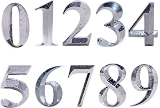 10 Pcs Door Numbers 0-9, Address Number Stickers for Apartment / Mailbox, Silver Shining, 2 inch High, Unique Design