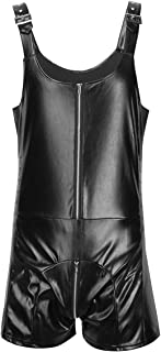 Mens Faux Leather Butcher Leotard Bodysuit Sleeveless Wet Look Zipper Jumpsuit Romper