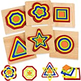 Toddler Toys for Boys Girls Age 1 2 3, Montessori Educational Wooden Shape Puzzles for Kids 1-4 Year Old, Rainbow Sorting Learning Toys Birthday Present for Baby