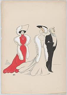 Historic Pictoric Fine Art Print - Georges Goursat Sem - Caroline Otéro, Liane de Pugy, and Jean Lorrain, from Monte Carlo, 2nd Serie - Vintage Wall Art - 16in x 24in