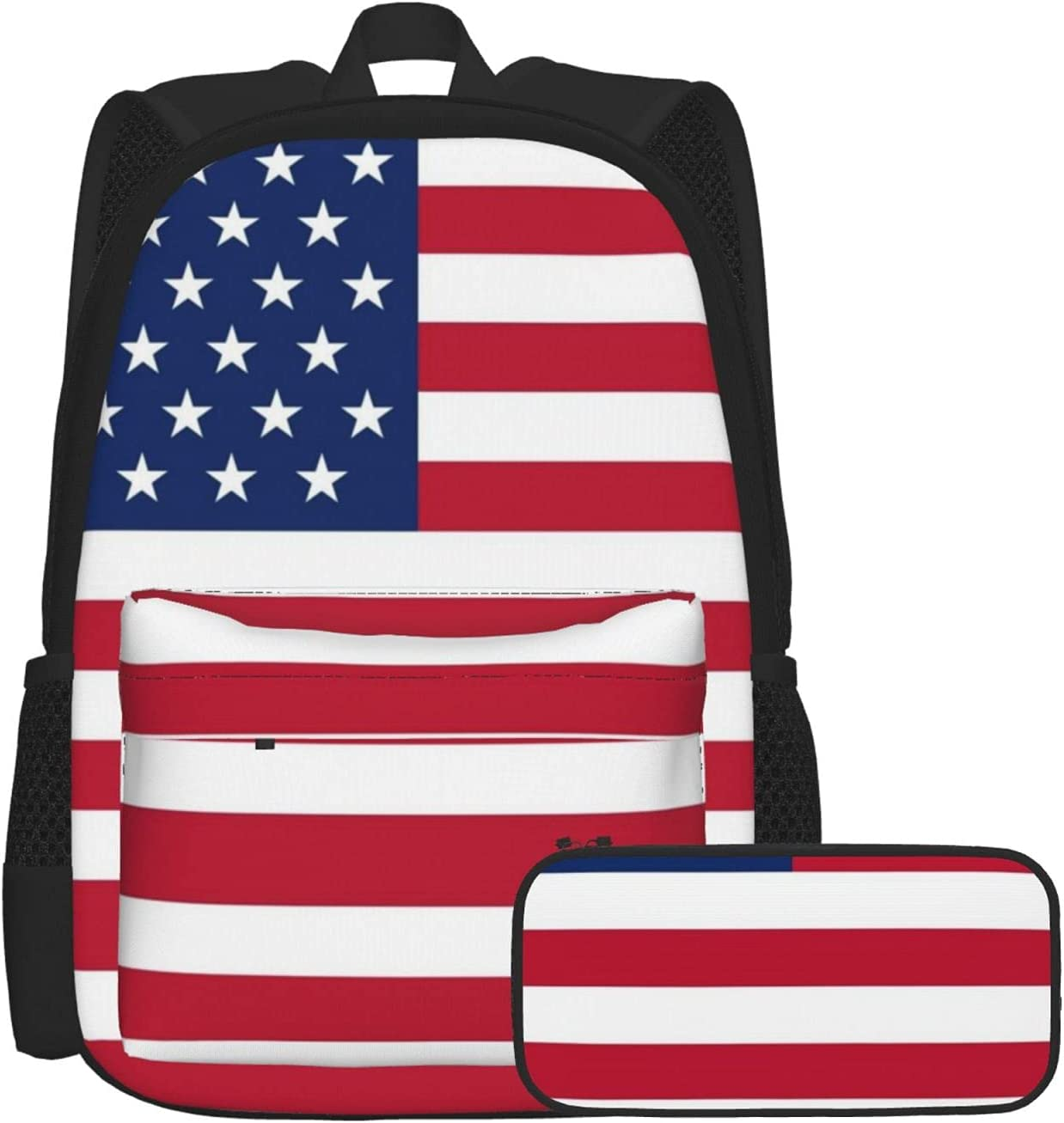 KAMIZE American Flag Fresno Mall 2pcs BackpackPencil 3d Printed Case Ca 1 year warranty Set
