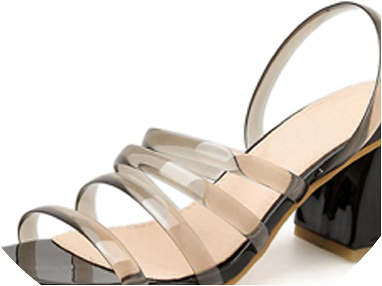 RAINIE002 2019 Womens Sandals shoespvc Transparent Sandalsfashion Clear Heels Ladies High Heel Buckle Sandals 7.5Cm
