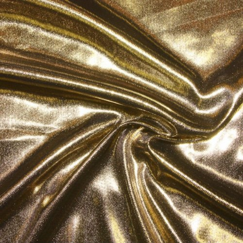 STOFFKONTOR Glanz Jersey Stoff Breite 150cm Gold Meterware Kostümstoff