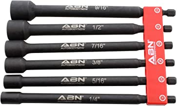 ABN Impact Nut Driver Tool Set - 6pc SAE 6 IN Long Shank Nut Driver Bits Magnetic Tip Sockets, 1/4 IN Hex Shank
