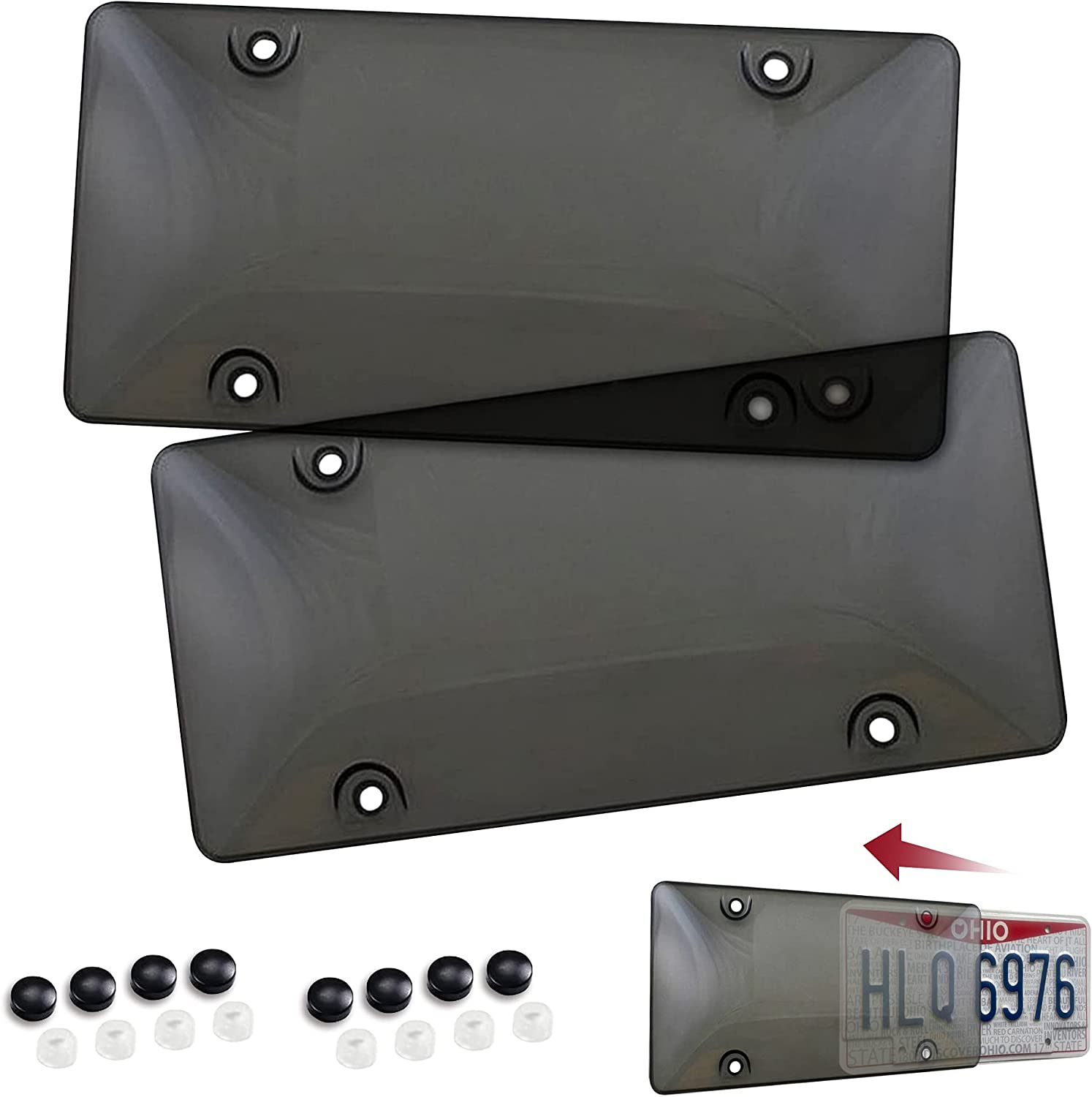 Tinted License Plate Cover Set of Standard Fit - Front & Back Bling License Plates Shield Fastening to Frames - Premium Automotive Exterior Car & Truck Accessories for Teens, Men & Women, 6