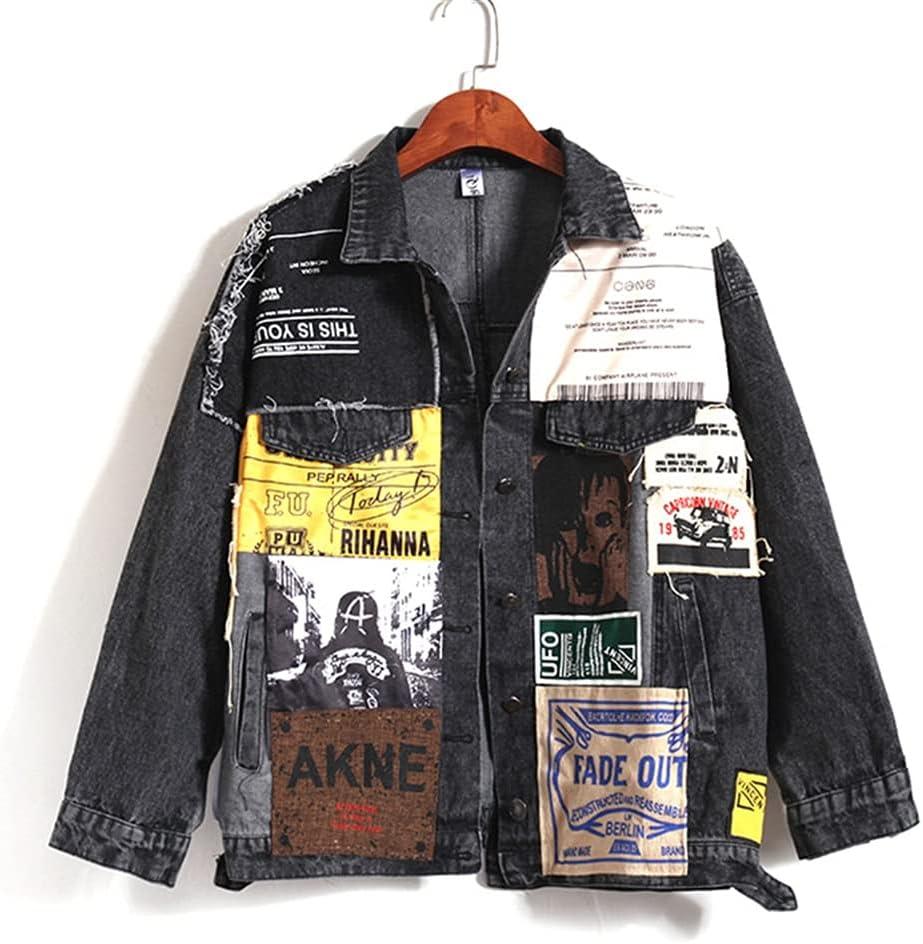 SLATIOM Autumn Women's Denim Jacket Vintage Overcoat Appliques Pattern Jeans Jacket Black Coat Female Casual Loose Outerwear (Color : Black Gray, Size : S Code)