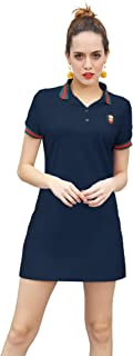 YXLUOKY Women's Short Sleeved Dresses Simple Polo Dresses Casual Sport T-Shirt Tops
