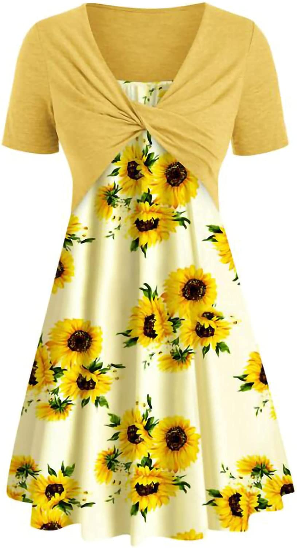 Sun Dresses Women Summer Women's Dress Printing Drees Short Sleeve Cross Print Dress Suit Womens Dresses