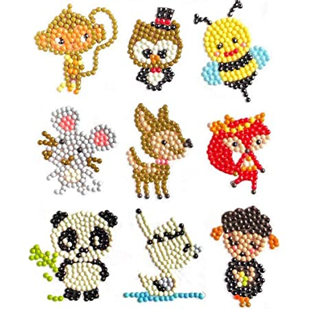 Animal 10 Mosaic Sticker by Numbers Kits Arts and Crafts Set for Children 5D DIY Diamond Painting Kits for Kids