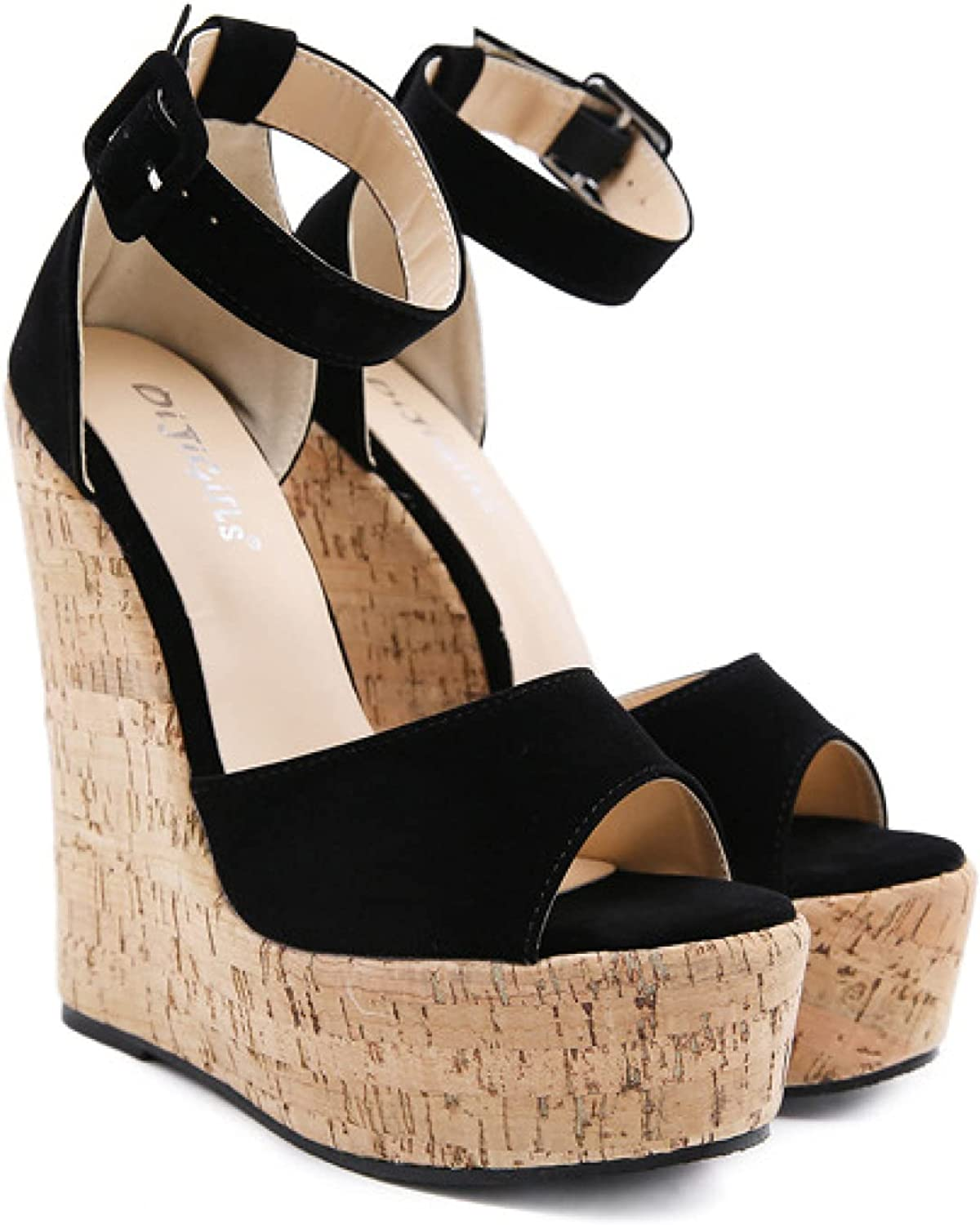 Fashion Thick Platform Wedge Sandal for Womens Cozy Leather Open Toe High Heeled Buckle Strap Dance Shoes Nightclub