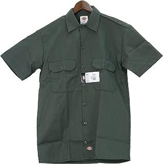 1574OG S Mens Short Sleeve Work Shirt, Olive Green Small