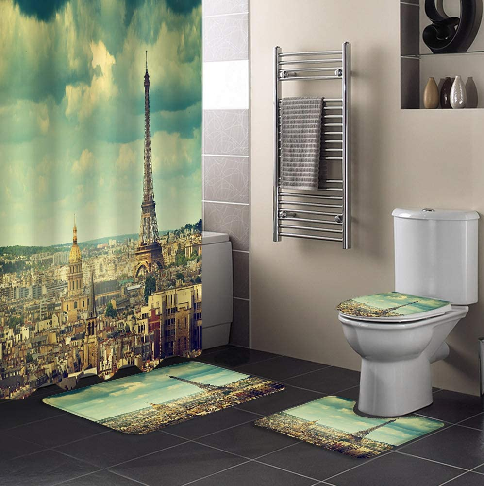 MUSEDAY 4 Max 68% OFF Piece Shower El Paso Mall Curtain Set Toilet with Lid Rug Non-Slip