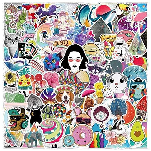 HENJIA 100 Uds Doodle monopatín Impermeable Maleta de Viaje teléfono móvil Etiqueta de Equipaje Linda niña
