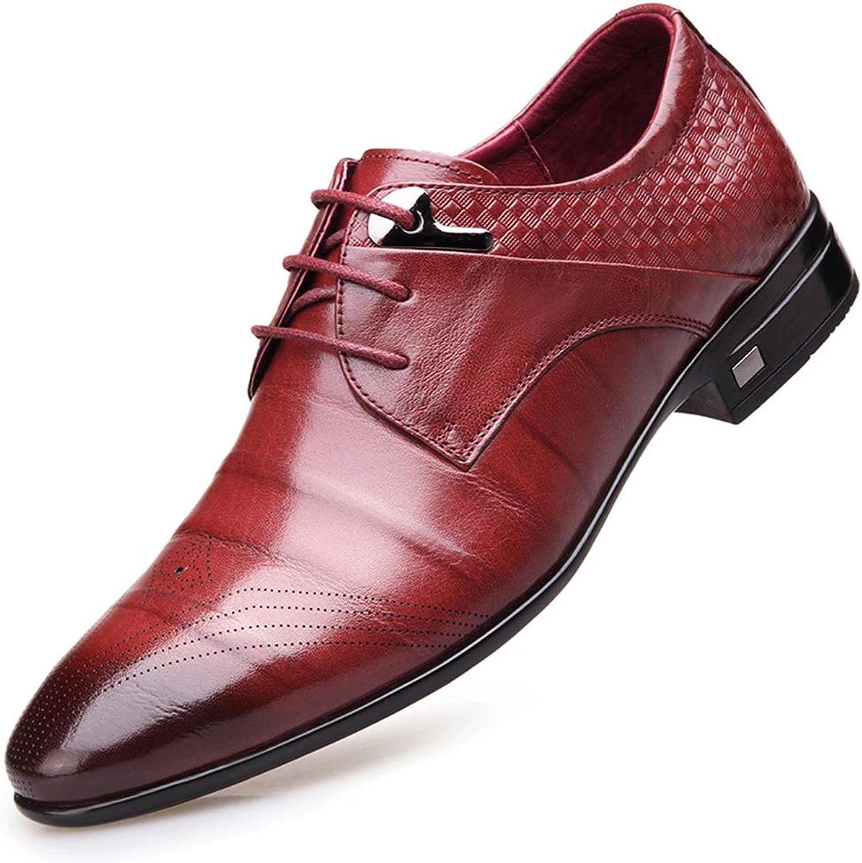 Mans läder skor Pointed Lace Lace Lace -Up Business Formal skorheriving Party och Evening Dress skor.  100% fri frakt