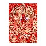 Thangka Bouddhiste Bouddha Thagka Toile Toile Panneau d'affiche Inde Chinese Zen Accueil Décoration Mur Art Picture Pour Salon Pas de cadre ( Color : Only Canvas painting , Size (Inch) : 20x30cm )