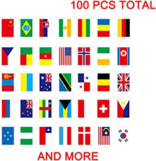 100 Pcs World Flags, International Flags,100 Countries Pennant Banner String National Flags for Classroom Garden Olympics Festival Grand Opening Bar Sports Clubs Party Events Decorations