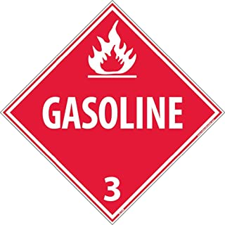 DL134R National Marker Dot Placard Gasoline Sign 3, 10.75 Inches x 10.75 Inches, Rigid Plastic