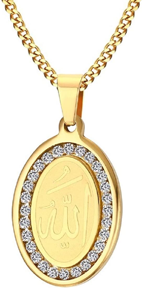 Rockyu Allah Necklace for Men Stainless Steel Bling shopping Gold Plated trust