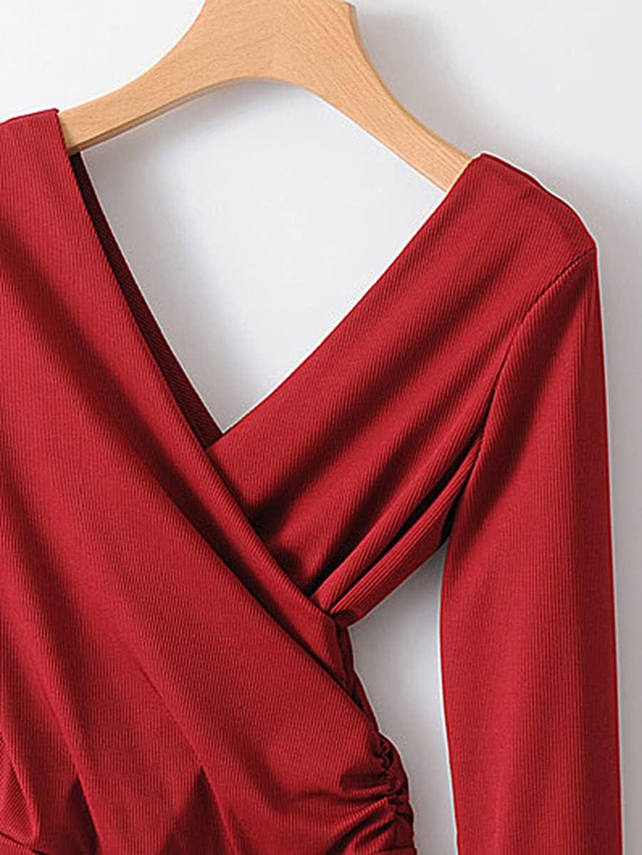 JYMBK Lace Jumpsuit Surplice Double V Neck Bodysuit (Color : Burgundy, Size : S)