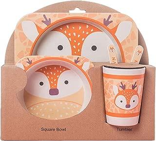 5 Pcs Animal Shaped Bamboo Fiber Portable Children's Cutlery Set Toddler Feeding Dishes Kids Dinnerware Gift Sets Deer