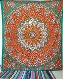 Craftozone Tapiz Regalo tapices Hippie Mandala Bohemio psicodélico intrincado Indio Colgante de Pared Ropa de Cama Colcha