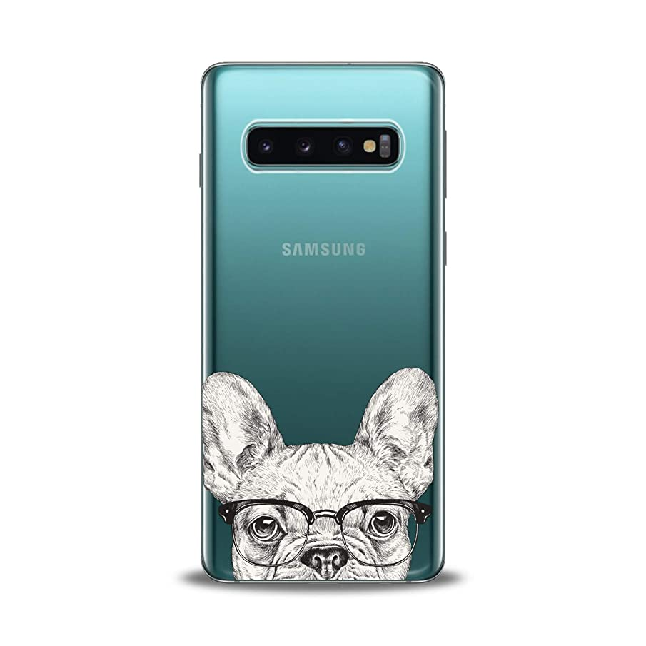 Lex Altern TPU Case for Samsung Galaxy s10 5G Plus 10e Note 9 s9 s8 s7 Clear White Dog Cover Silicone Graphic Print French Bulldog Durable Smart Glasses Design Girl Women Flexible Cute Animal Present