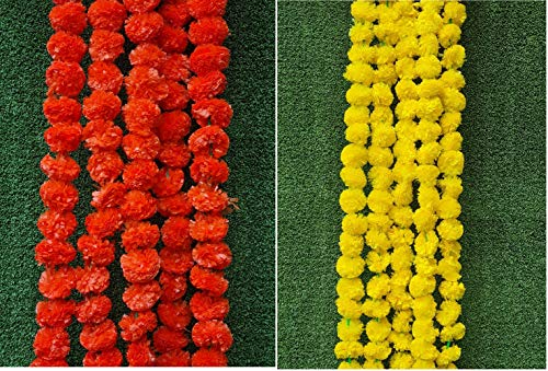 Nexxa 5 ft Long (Pack of 10) Yellow & 5 pcs Orange Artificial Mixed Marigold Flower Garlands for use in Home Parties Diwali Ganesh Fest Decor, Celebrations, Indian Weddings, Indian Themed Event