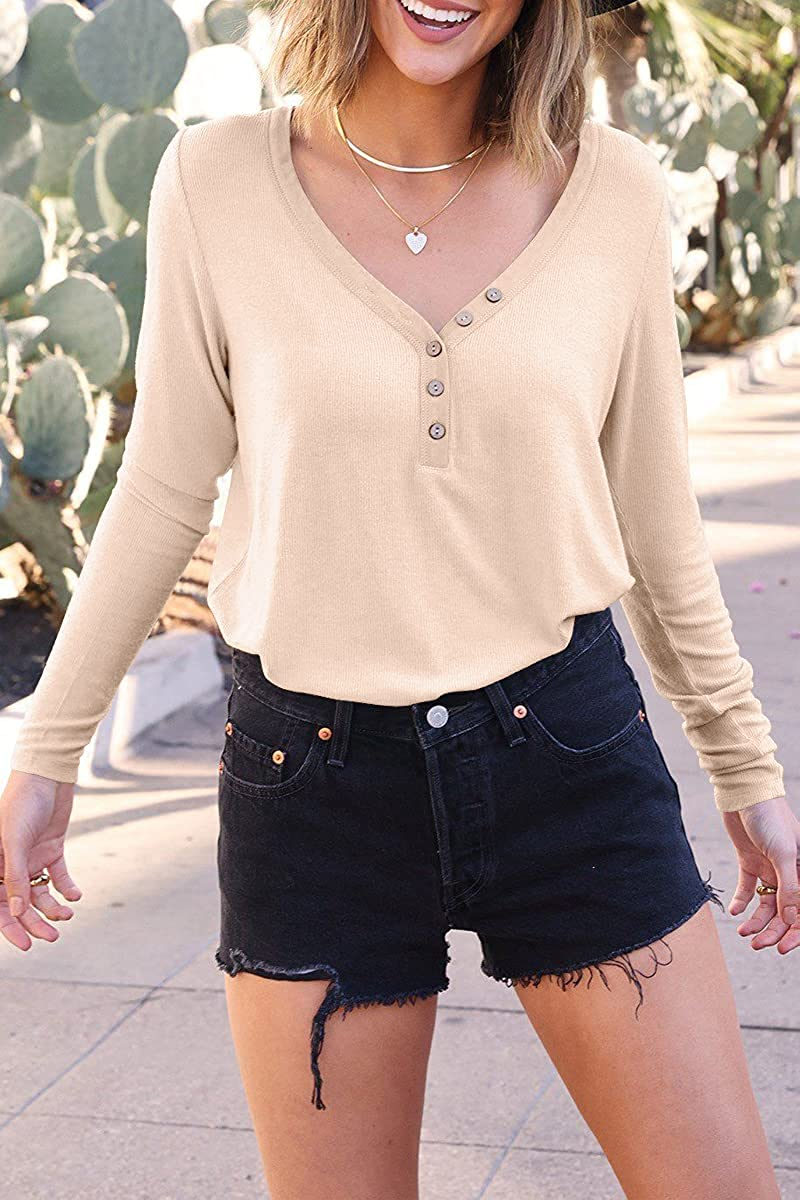 Kissfix Women's Long Sleeve Tops Casual V Neck Henley Shirts Button Down Loose Fit Blouses Ribbed Fall Tunic Sweatshirts