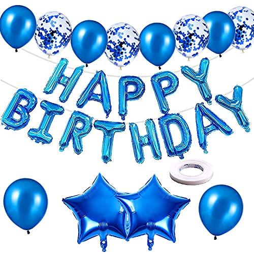 Happy Birthday Balloon Banner, palloncini autogonfiabili in blu con palloncini in lamina / palloncini con coriandoli / palloncini in lattice/nastro per bambini uomini donne decorazioni (blu)