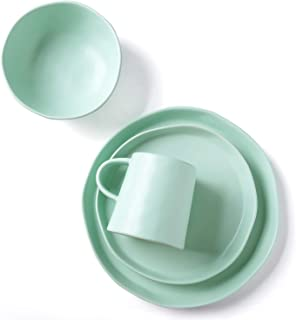 Le Tauci 4 Piece Matte Glaze Dinnerware Set, Place Setting Service One Person, Green