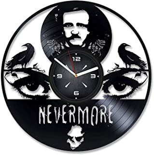 Edgar Allan Poe Nevermore Vinyl Record Wall Clock. Decor for Bedroom, Living Room, Kids Room. Gift for Him or Her. Christmas, Birthday, Holiday, Housewarming Present.