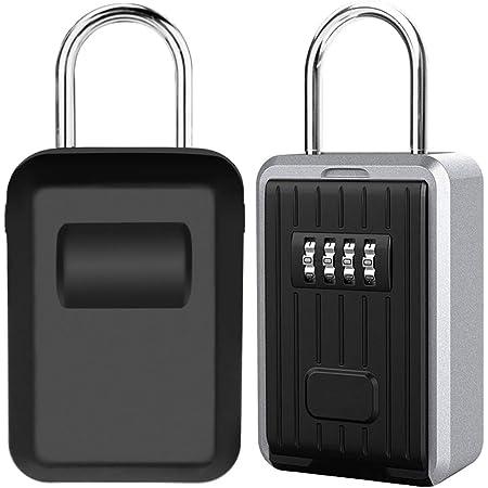 Boite à Clé Sécurisée Montage Mural Boite a Clef avec Code Numérique à 4 Chiffres, Extra Grande Lock Box Coffre a Clefs Exterieur avec Anse, Format XL Boîte à Clés à Code (Noir)