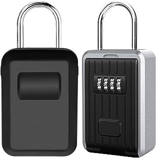 Caja de Seguridad para Llaves, Montaje en Pared Candado Caja Llaves Codigo de 4 Dígitos Combinación, Almacenamiento Seguro para Exterior, Casa, Coche, Garaje, Escuela [Grande Capacidad] (Negro)