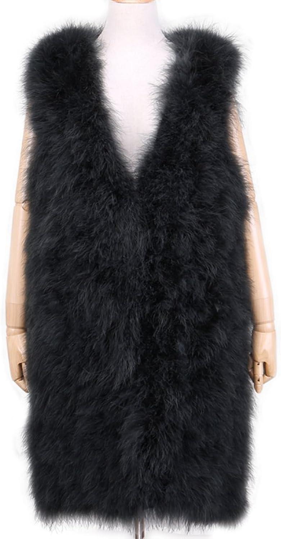 ETHEL ANDERSON Fur Coat, Real Ostrich Fur Vest V Neck Winter Warm Fur Fluffy Overcoat Waistcoat