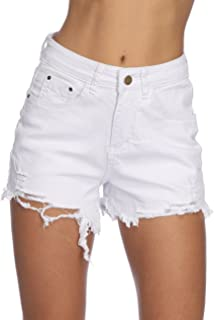 Womens Denim Shorts Summer Stretchy Frayed Raw Hem Distressed Jeans Shorts