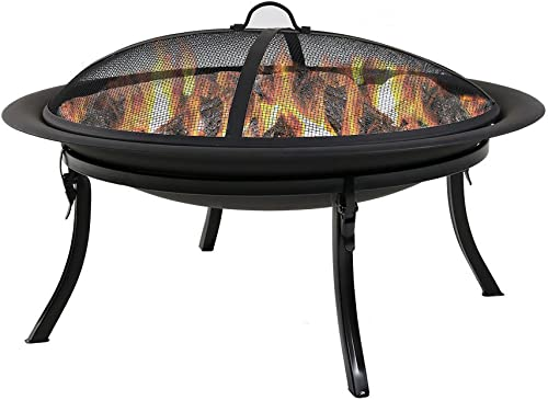 wholesale Sunnydaze online sale Portable Outdoor Fire Pit Bowl 2021 - 29 Inch Round Bonfire Wood Burning Patio & Backyard Firepit for Outside with Spark Screen, Fireplace Poker, Folding Stand, and Carrying Case Cover online sale