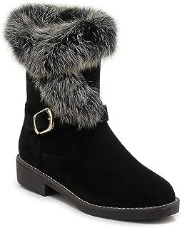 Women's Winter Warm Fur Snow Ankle Booties Waterproof Suede Short Boots Low Heel Buckle Snow Boots