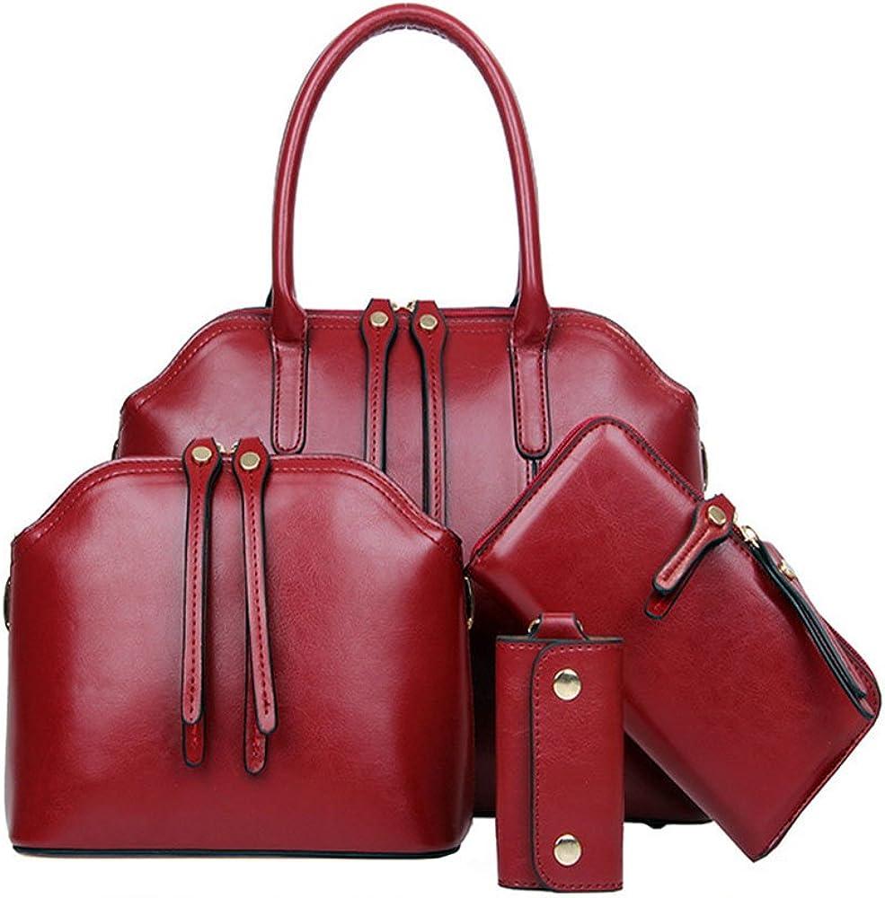 FiveloveTwo Women Max 80% OFF 4 Pcs Top Handle Handbag Larg Large-scale sale Set Satchel Hobo
