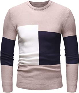 Men's Knitted Jumpers Long Sleeve Shirt Slim fit Men Basic Round Neck Patchwork Sweater Fashion Casual Warm Sweater Perfec...
